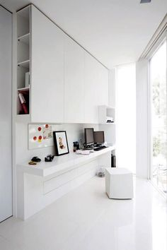 Cupboards above desk with lights underneath