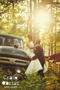Amazing couple with a vintage truck. Love that brides are willing to get their dress a little dirty for the shot. Def a have!