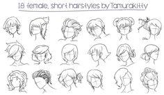 18 female short hairstyles by Tamurakitty on DeviantArt