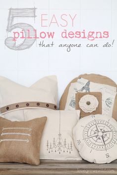 DIY:: 5 Easy Rustic Pillow Designs that ANYONE can do! No detailed sewing instructions, no craft skills required - just simple, beautiful ideas to transform pre-made pillow covers!