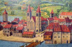 Das Kratzquartier, das Fraumünster und der Münsterhof auf der Replik der…