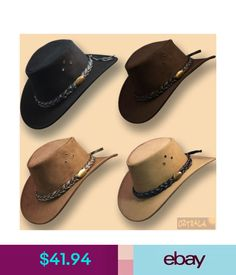 7610c449b53 Hats Suede Leather Jacaru Hat Australian Outback Bush Cowboy Mens Women  Black Brown  ebay  Fashion