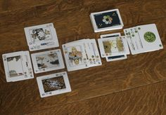 Biscuit is a Decktet game for 2 to 4 players. Object of the game: To score points by placing cards. Setup: Deal each player six cards. Deal one card face down in the middle of the table and another card face up crossways on top of it. The remaining cards form the draw pile. The player to the left of the dealer takes the first turn. On your turn, you choose one card from your hand and place extend one of the lines of cards. The card you play must match at least one suit with the card adjacent…