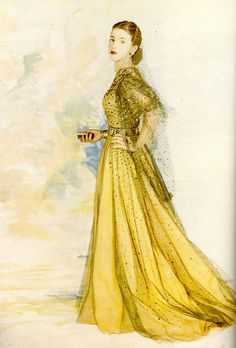 Midas approved 1940s evening wear style by designers Norman Hartnell. Vintage gold dress #1940s