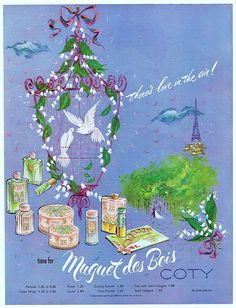 Image detail for -1952 Ad - COTY Muguet des Bois Perfume - 'There's love in the air ...