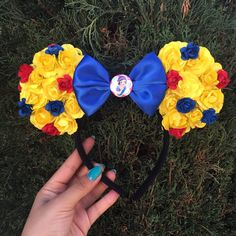 Snow White inspired floral Minnie Ears  Mickey by CreationsbyNatty