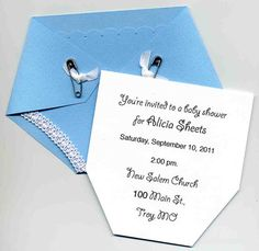 This die cut diaper is the cutest way to invite friends and family to a baby shower. With real safety pins and little bows this invitation is sure to impress. Made from textured card stock. Measures: 4.5 x 6 and comes with white envelope. Scallops punched across the top, trim on the leg holes. Information pulls out of the top and is on white card stock. The wording is completely customizable including the font. 4 samples pictured.    Great for Diaper Parties!    *Shown in Light Blue Also…