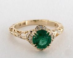 Green Emerald Engagement Ring 1.1ct Vintage Inspired Yellow Gold