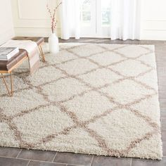 Dallas Shag Ivory/Beige 10 ft. x 14 ft. Area Rug