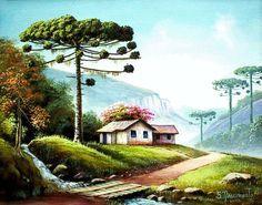 24 Ideas For Painting Oleo Paisajes Landscape Pencil Drawings, Crayon Drawings, Landscape Art, Landscape Paintings, Easy Canvas Painting, Simple Acrylic Paintings, Abstract Canvas, Beautiful Paintings, Beautiful Landscapes