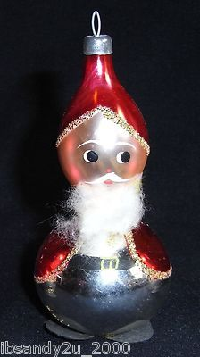 Antique Blown Glass Santa Christmas Ornament