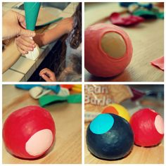 Go to April 22, 09 on blog Fun inexpensive kids craft.  Making stress ball/bean bags. Great craft to take out doors. Uses-juggling, catch, kids bocce, hopscotch.  hide and find.