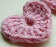 Crochet Hearts 10 pcs 100% cotton quality yarnpink applique