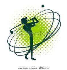 Silhouette of swinging golfer. #Vector #illustration #logo #element #golf #design