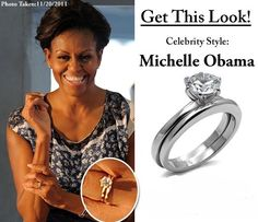 michelle obamas wedding set looks like a tiffany style six prong with a baguette diamond wedding band first ladies homes of the presidents - Obama Wedding Ring
