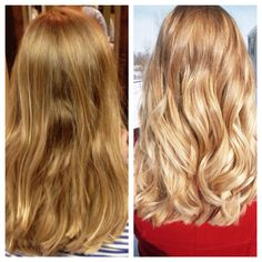 before and after olaplex on blonde hair you can see the