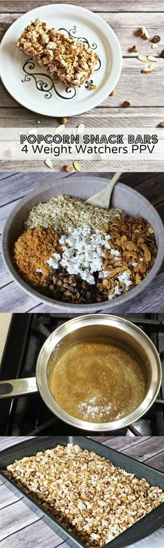 Healthy popcorn snack bars.  So easy to make and only 4 WW PPV. Popcorn, coconut, almonds, honey, brown sugar, chocolate peanut butter chips, & oats.