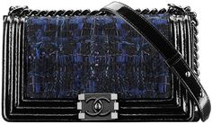 28a52e5569dc78 Boy Chanel Flap Bag in Tweed and Patent Style code: A90301 Size: 5.9 x