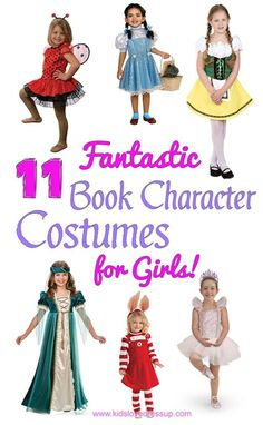 Need a great book character costume for your daughter's World Book Day celebrations, Book Week, or Halloween? Check out these 11 fantastic Book Character Costumes For Girls that are adorable and well priced! world book day costumes kids, kids world book day costumes, Book week costumes, book character costumes, book character dress up, girls book character costumes