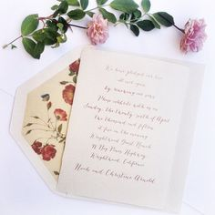 Watercolor Calligraphy Wedding Invitation with Floral Lined Envelope honey-paper.com #santabarbarawedding