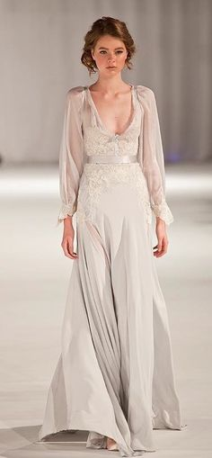Paolo Sebastian  wedding gown - lovely sheer sleeves (not quite right for me, but love the deeper neckline and flow)