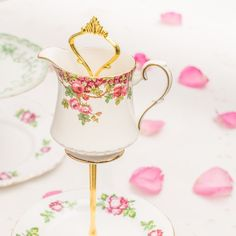 Shabby-chic rose tier cake stand/ afternoon tea by TheButteredCat