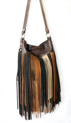 2b4afcb2b3fd Leather fringe bag - festival fashion - by Uptown Redesigns - upcycled  leather designs