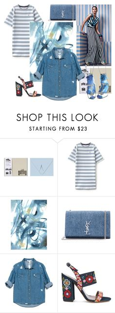 """""""denim solution by roxariaone"""" by roxariaone ❤ liked on Polyvore featuring Lacoste L!VE, WALL, Yves Saint Laurent, Sans Souci, Tabitha Simmons, denim, personalstyle, polyvorecontest and womanfashion"""