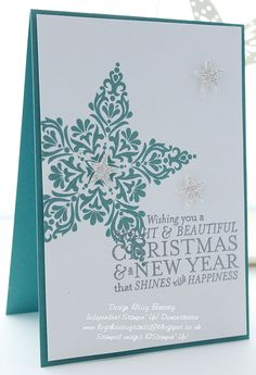 handmade Christmas card from Lizy's House Of Cards: Bright & Beautiful stamped star ... one-layer design on a teal background card ... luv the trio of silvery small stars ...