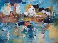 Working Harbour, Cornwall by British Contemporary Artist Nagib KARSAN