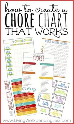 It can be a challenge to get kids motivated to help out around the house, but getting kids to do their chores not only makes family life run smoother, it is essential to their own development and self-esteem! Don't miss these four simple steps you can take right now to create a chore chart that works. This in-depth post even includes four different types of printable chore charts, plus a helpful list of age-appropriate chores! by AFiskie