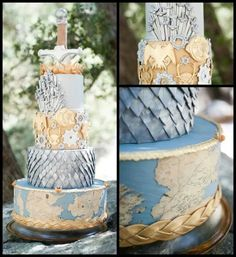 This Game of Thrones wedding cake takes the cake. It features Westeros, dragon scales, house sigils, and the Iron Throne. Is this your geeky dream cake? Game Of Thrones Kuchen, Game Of Thrones Cake, Game Thrones, Cupcakes, Cupcake Cakes, Beautiful Cakes, Amazing Cakes, Got Party, Deco Floral