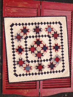 This looks patriotic to me. Red, White, and Blue....Stars, too!!!   Star Gatherings Quilt Kit by myreddoordesigns on Etsy