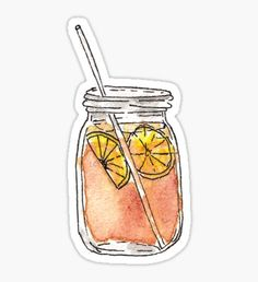 Pegatina Mason Jar Summer Sun Ice Tea en acuarela