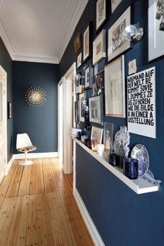 I love this shade of blue - I wouldn't have thought of using it in a narrow hallway, but it works really well.