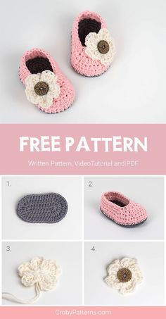 FREE Crochet Pattern for Baby Booties For Little Girls Available Written Pattern, Video Tutorial and PDF pattern by Croby Patterns