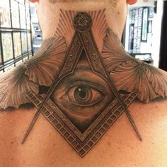 All seeing eye with compass - A universal symbol representing spiritual sight, inner vision, and higher knowledge. The Masonic symbol of the compass and the T-square represents movement toward perfection and a balance between the spiritual and physical which resembles Egyptian and oriental mysticism. The compass (used to form circles) represent spirit. The ruler (part of a square) represent the physical.