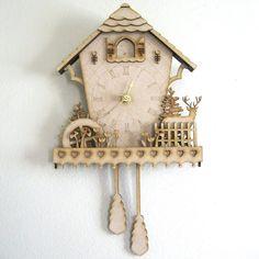 Cuckoo Clock Wood Clock Woodland Clock Unique Wall di FabParlor, $50.00