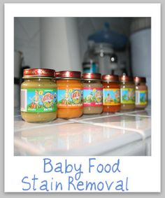 How to remove baby food stains from clothing upholstery and carpet. If you've ever fed a baby you know this is needed information! {on Stain Removal Baby Puree, Glass Cooktop, Stain Remover Carpet, Practical Gifts, Carpet Stains, Natural Cleaning Products, Toddler Meals, Kid Friendly Meals, Clean Recipes