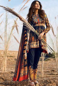 Blue printed designer suit - Desi Royale