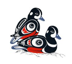 Harlequin Ducks by Glen Rabena - Northwest Coast Native American Symbols, Native American Design, American Indian Art, Inuit Kunst, Inuit Art, Haida Tattoo, 1 Tattoo, Beard Tattoo, Arte Tribal