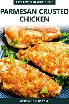 Chicken Cutlet Recipes, Low Carb Chicken Recipes, Chicken Parmesan Recipes, Gluten Free Chicken, Keto Chicken, Healthy Breaded Chicken, Soup Recipes, Baked Parmesan Crusted Chicken, Chicken Strip Recipes