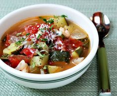 Tomato, zucchini, white bean and basil soup, from The Perfect Pantry.