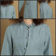 Linen Tunic Dress In Grey Blue / Linen Tunic Blouse /