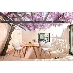 AppleBee Tuinstoel Fleur - gevlochten draad met teak pootjes