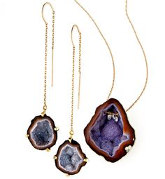 I just love these!   love, love, love.  Geode necklaces and earrings are a hot new jewelry trend, and these multidimensional danglers will add unexpected natural sparkle to any outfit.