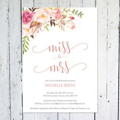 Bridal Shower Invitation Miss To Mrs Boho Pink