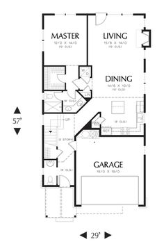 Main Floor Plan of Mascord Plan 21112 - The Gilmore - Charming House Plan with Enticing Entrance