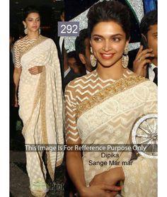 Bollywood Designer replica saree Deepika White Festival Wear