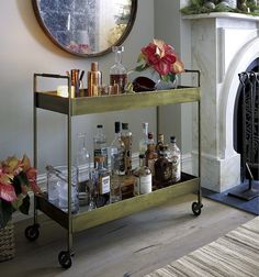 Gold Bar Cart- we found a similar piece for a fraction of the price!
